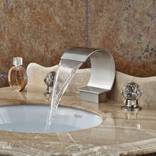Deck Mount Brushed Nickel Luxury Bathroom Waterfall Mixer Taps Dual Handle Basin Sink Faucet Dual Cristal
