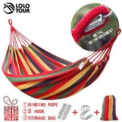 Lona dupla rede de algodão 2 pessoas hamac ampliar jardim balanço dormir hamak rede 200*150cm mobília hamaca