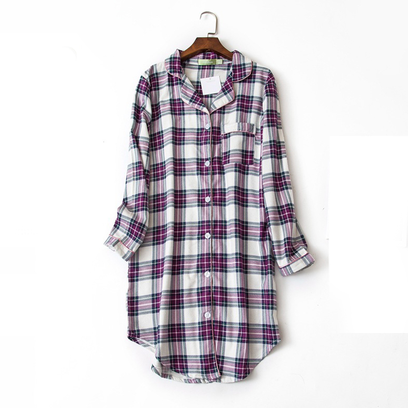 Women grid night shirts long sleeve casual cotton lounge comfortable sleepwear nightgown