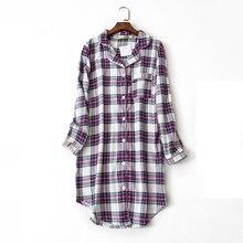 Women grid night shirts long sleeve casual cotton lounge com