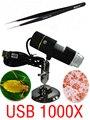 1000X microscopio USB Digital portátil 1000X50 X ~ En Luz Blanca incorporada 8 unids LED lupa + 1 unids Pinzas
