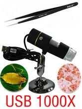 Microscopio Digital USB Portable 1000 X 50 X ~ 1000X en una función de luz blanca 8 unids LED lupa + 1 unids pinzas