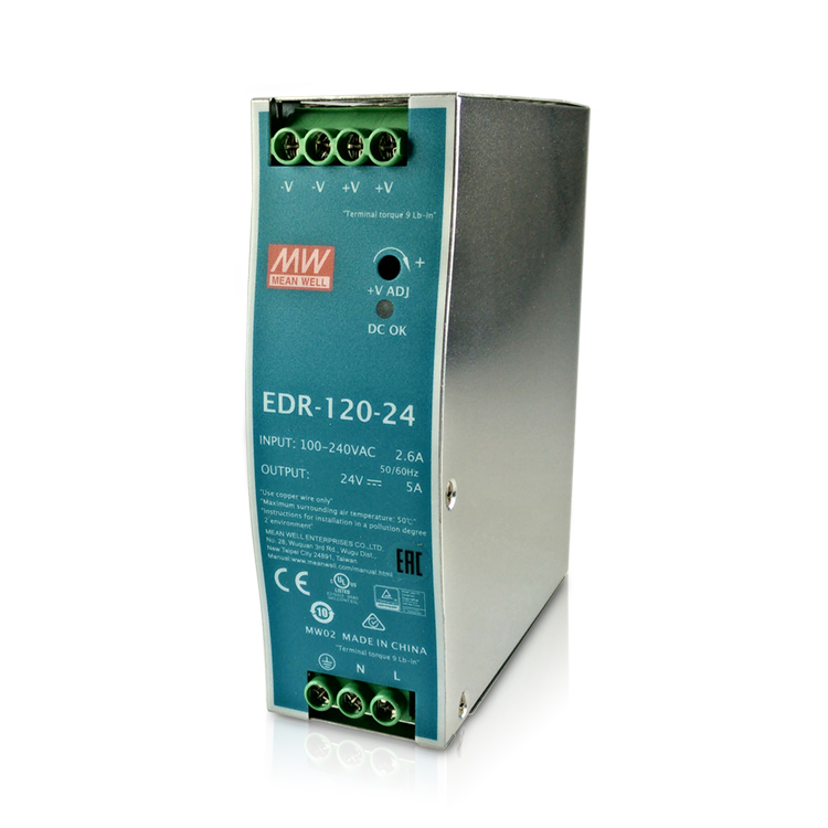 Single Phase AC/DC 120W 24V 5A Genuine Meanwell EDR-120-24 Industrial DIN Rail Power Supply