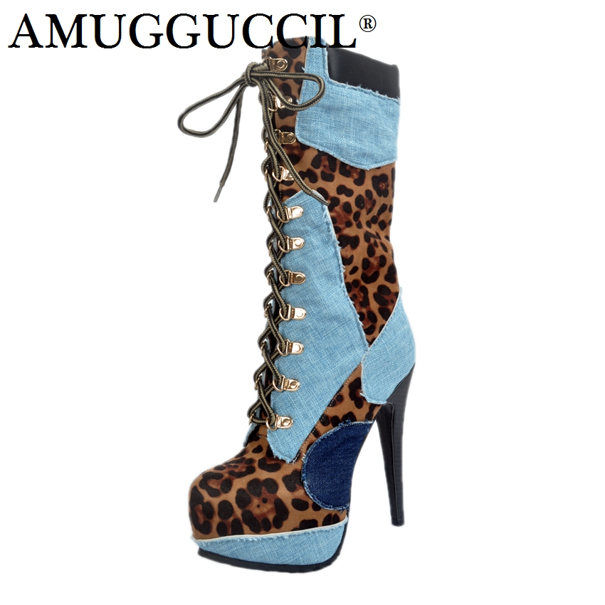 2018 New Plus Big Size 34-52 Blue Red Lace Up Fashion High Heel Platform Females Girl Lady Mid Calf Autumn Women Boots X1714 2018 new plus big size 34 42 black blue red lace up high heel platform wedges spring autumn female lady women shoes pumps d1038