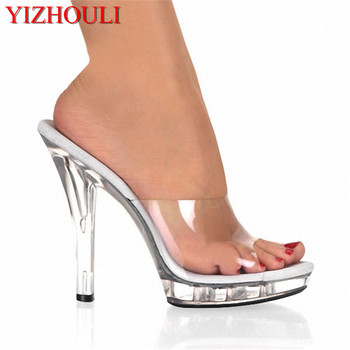 Hot 13 cm sweet gentle woman crystal transparent slippers, platform party sexy shoes, fashionable sandals
