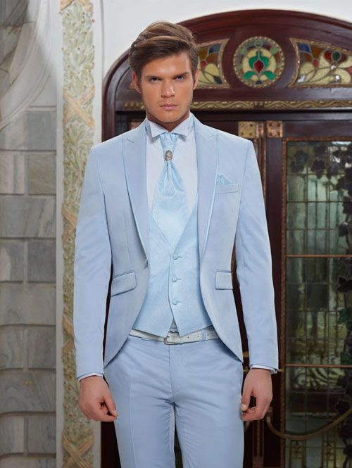 Tailor Made Light Blue Wedding Suits For Men Formal Costume Marriage Homme 2018 Groom Prom Tuxedo 3 Piece Blazer Jacket Men -in Suits from Men\'s ...