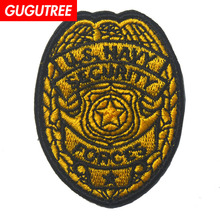 GUGUTREE embroidery HOOK&LOOP letter patches star flag badges applique for clothing AD-223