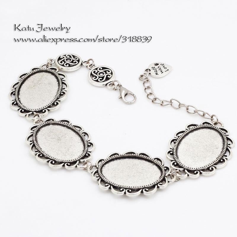 Vintage Silver Metal Zinc Alloy 18*25mm Oval Bracelet Cabochon Setting Jewelry Blank Setting Bracelet Findings BC8513