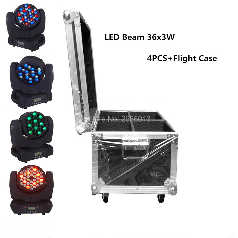 4PCS with flight case 36x3W LED Beam Moving Head LED Beam wash light Led for DJ