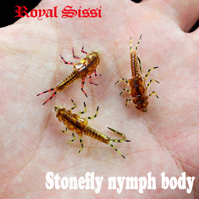 New 30pcs/set stonefly nymph rubber body and nymph hooks combo synthetic fly tying materials fly fishing artificial nymph flies