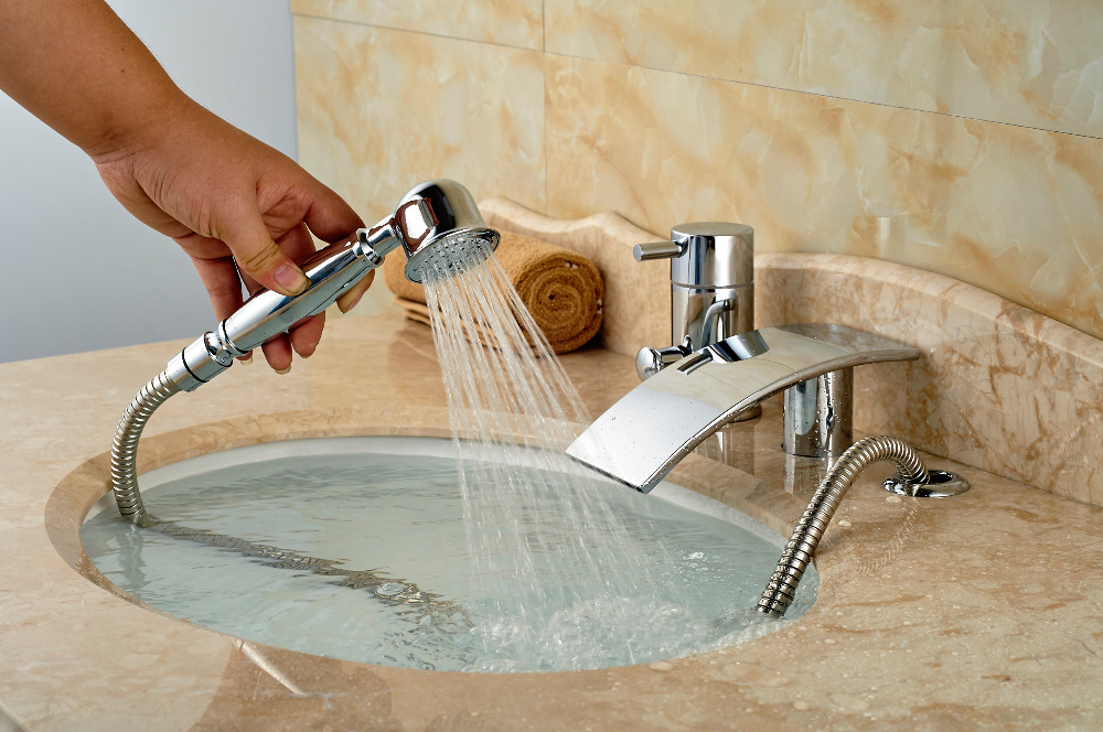 Aliexpress.com : Buy Deck Mounted Bathroom Tub Faucet Waterfall ...