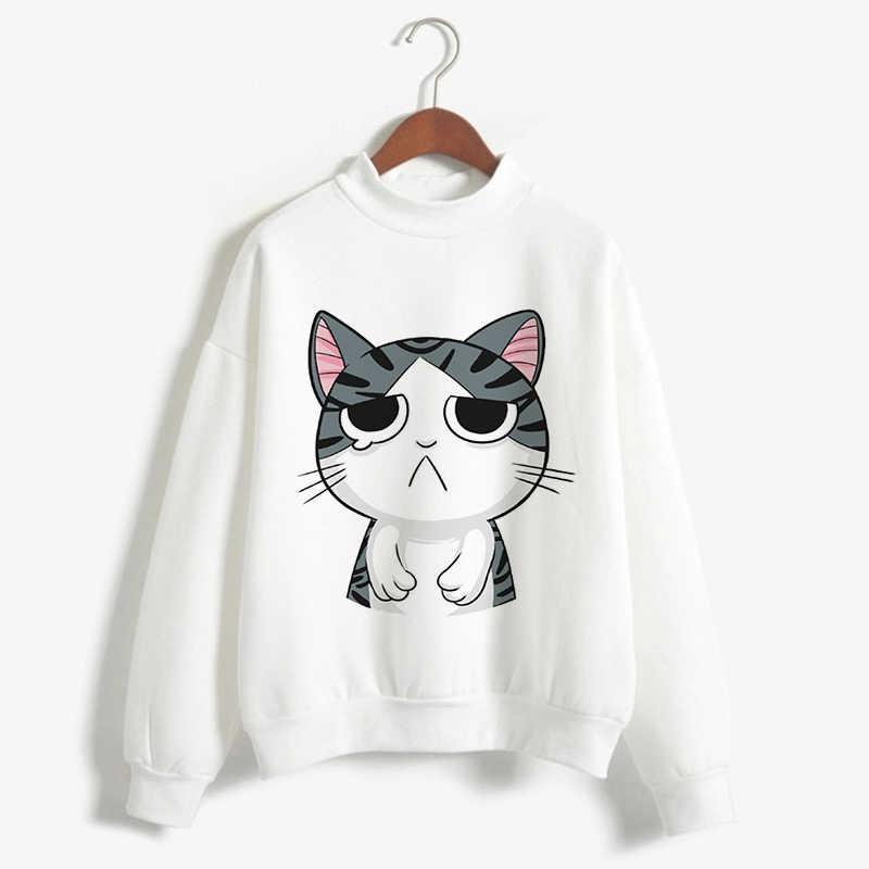6f547dc32 CDJLFH Cat Print T shirts Women Cartoon Turtleneck Clothes Kawaii White  Winter Autumn 2018 Loose Casual