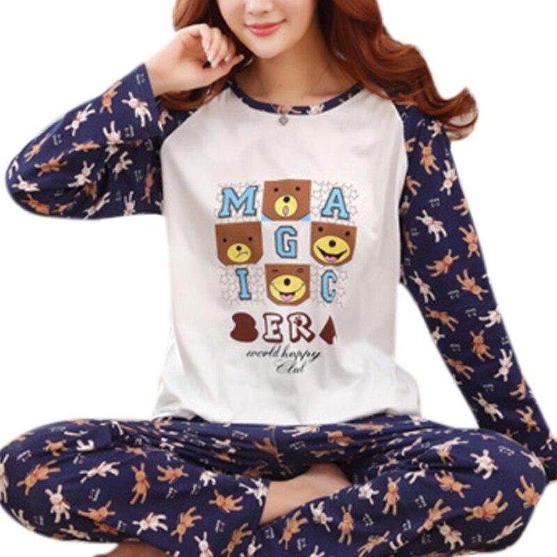 Pyjama-garnituren Frauen Frühling Herbst Langarm Pyjamas Set Schöne Cartoon Gedruckt Mädchen Lose Nachtwäsche Casual Hause Kleidung W15 Damen-nachtwäsche