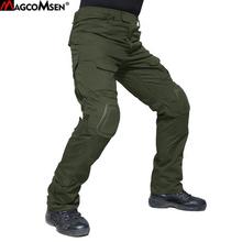 MAGCOMSEN taktyczne spodnie wojskowe dla mężczyzn lato trwałe US Army walki spodnie z nakolanniki kamuflaż Paintball odzież tanie tanio Pełnej długości Mężczyźni Cargo pants Wojskowy REGULAR Poliester Elastan COTTON Midweight Mieszkanie Suknem Zipper fly
