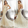2015 Distinctive Lace Sheer Backless Mermaid Wedding Dresses Berta Bridal Gowns Sexy  Chapel Train Ivory Bridal Gowns