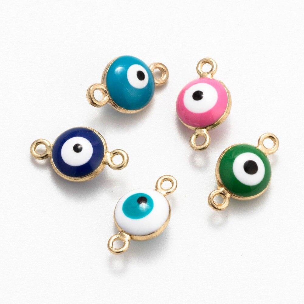 10pcs Gold Evil Eye Beads Connector  Fit DIY Bracelet Jewelry 12*8mm