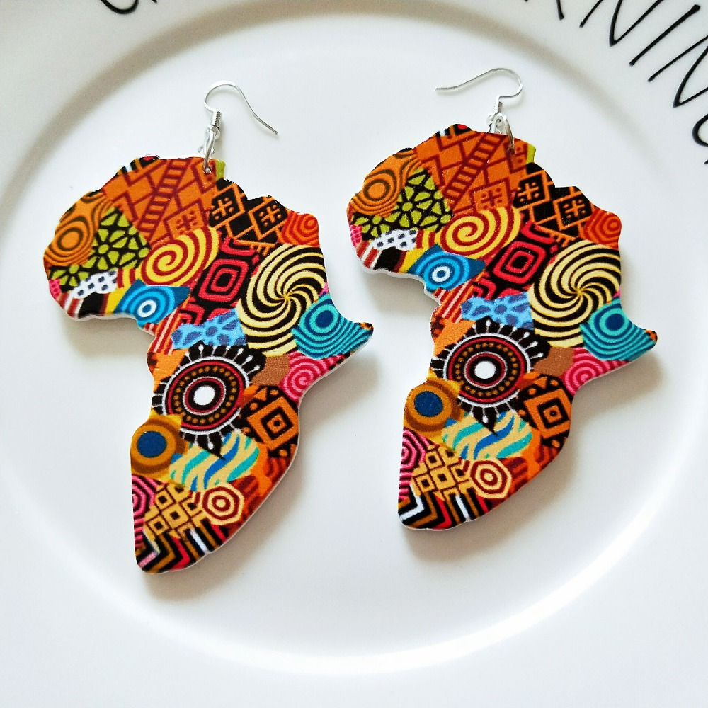 Tribal Wood Africa Map DIY Colorful Painting Afro Vintage Earrings Round Wooden Boho African Bohemia Ear Jewelry Party Accessory