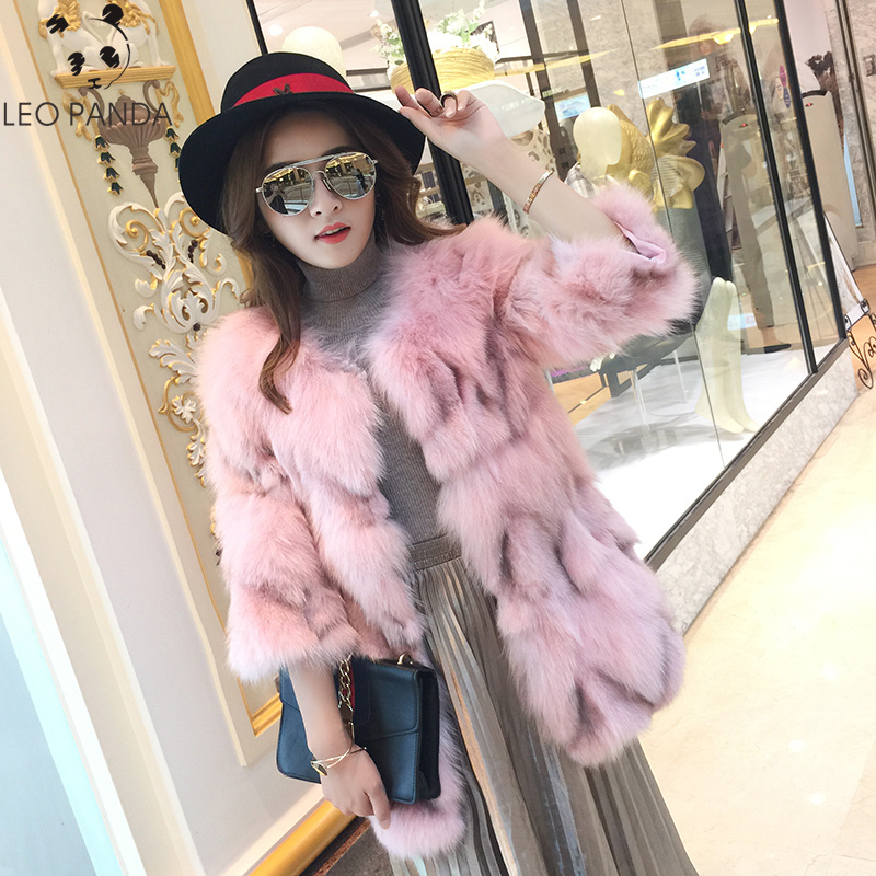 Thick Warm Classical Customize Made Plus Size 2XL Real Whole Skin Real Genuine Fox Fur Coat Female Winter O-Neck Jacket