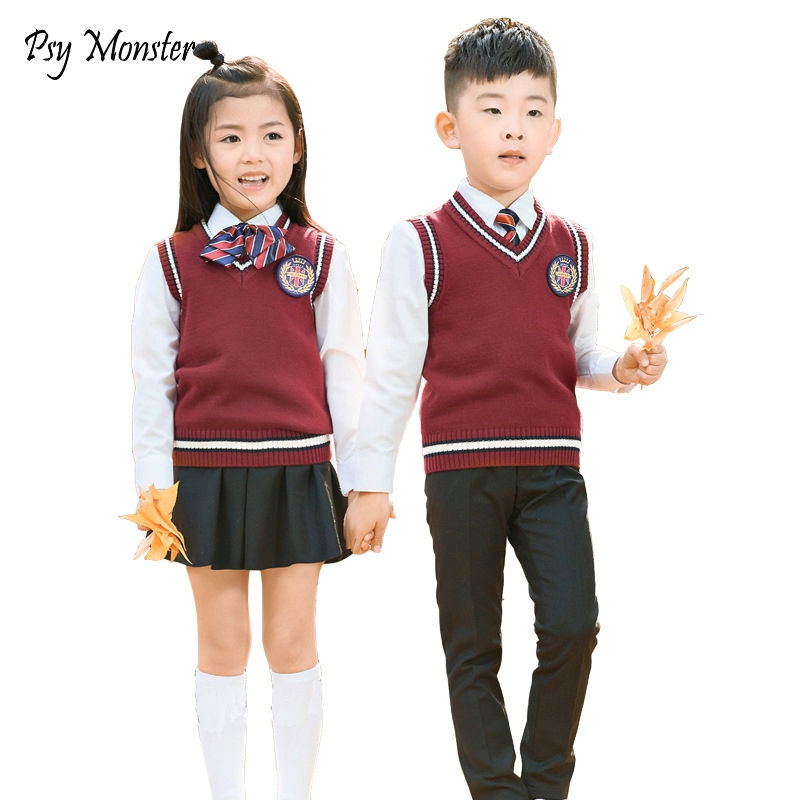 Kids Formal Suit Flower Girls Boys School Uniforms Set Shirt + Sweater + Pant Tutu Skirt + BowTie Set Performing Costume A27 цена