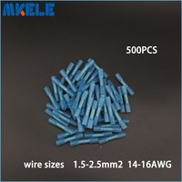 High Quality 500pcs Insulated Heat Shrink Butt Wire Electrical Crimp 16 14AWG Kit Connector Terminal Block