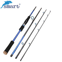 Smart 2.1m 2.4m 2.7m Spinning Fishing Rod 4 Section Carbon Fiber M Power Lure Rod for Carp Fishing Saltwater/Freshwater Rod Pole