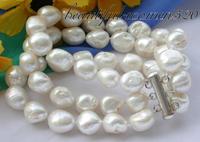 Z3425 3row 8 white baroque freshwater pearl bracelet silver