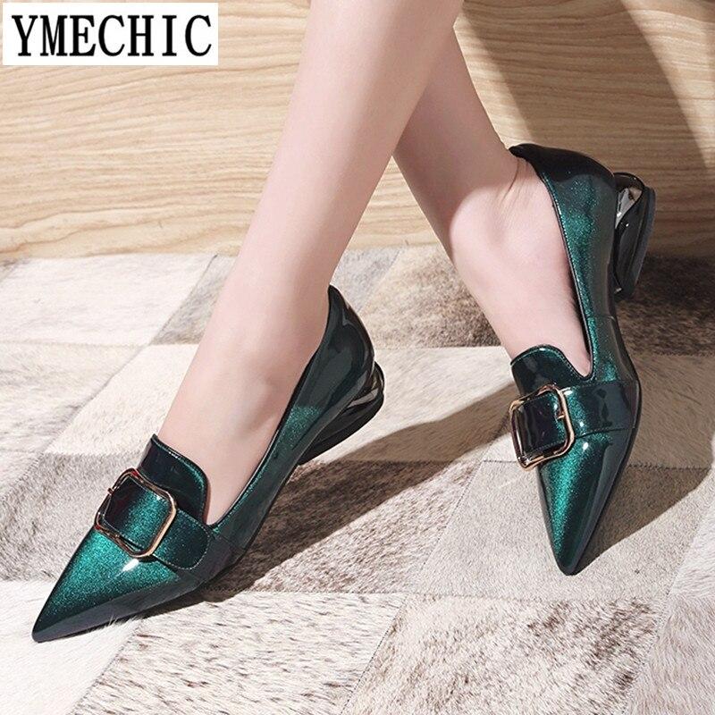 YMECHIC 2018 أزياء براءات الاختراع والجلود وأشار بيغيني مضخات كعب منخفض أحذية مشبك الانزلاق على إمرأة عارضة مكتب حزب الإناث مضخات-في أحذية نسائية من أحذية على  مجموعة 1
