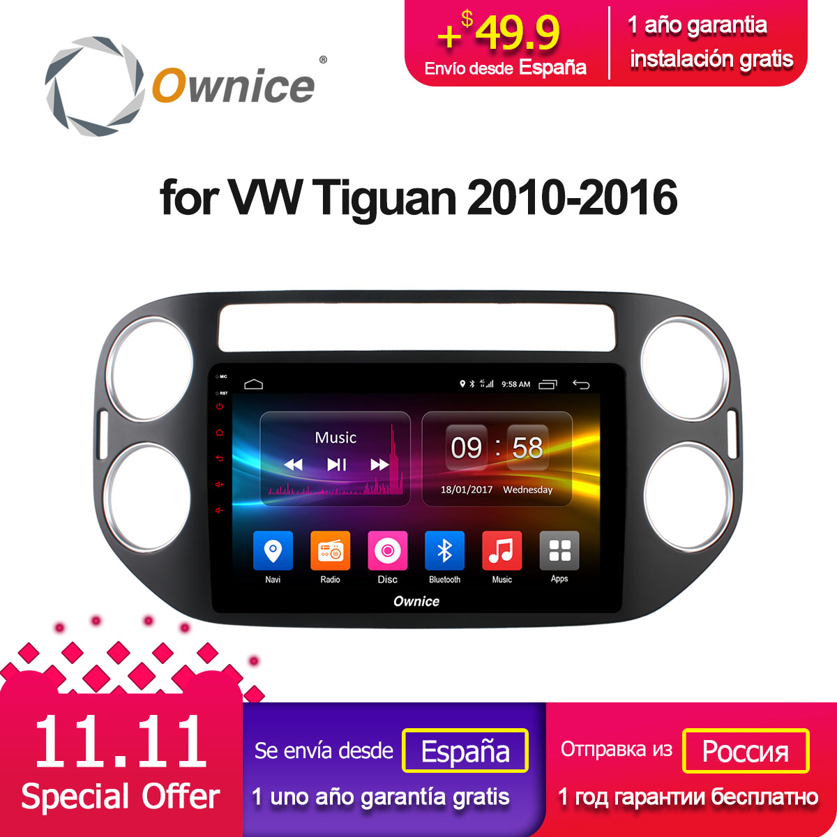 Ownice C500+ G10 Android 8.1 Octa 8 core car DVD radio gps navi for VW Tiguan 2010 2011 2012 2013 2014 2015 2016 2G RAM 32G ROM ownice c500 octa core android 6 0 car dvd gps for mazda 6 ruiyi ultra 2008 2009 2010 2011 2012 wifi 4g radio 2gb ram bt 32g rom