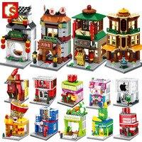 4 in 1 Building Blocks Mini Street Sightsee Shop Retail Store KFCE McDonald Cafe Apple Miniature Building Block for kid Legoin