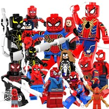 Single Super Hero SpiderMan Spider-Man Peter Venom Carnage Action model Vulture figure bricks building blocks toys for children(China)