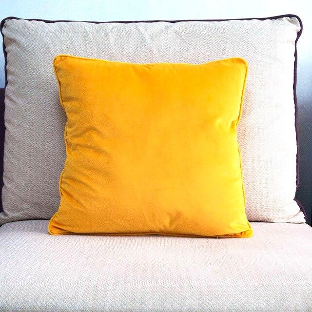 Arancione Giallo Piping Design Velluto Copertura del Cuscino Copertura del Cuscino Della Cassa Molle Bello Nessun Balling-up Senza Ripieno