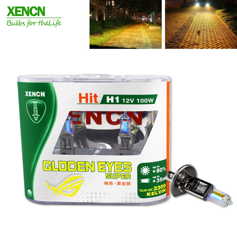 XENCN H1 2300K 12V 100W Golden Eyes Super Yellow Original Line Car Halogen Head Light OEM Quality Auto Lamp Free Shipping 2PCS golden eyes