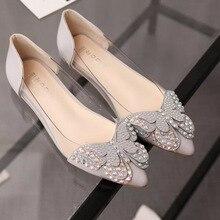 Chaussures de femmes 2017 printemps et en été nouveau diamant pointu chaussures plates bouche peu profonde arc de mode banquet chaussures Mulher Sapatos