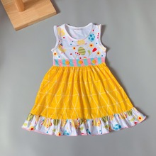 2019New style Summer Yellow dress ruffle trim Baby Girls Dress birdie blouse princess dress