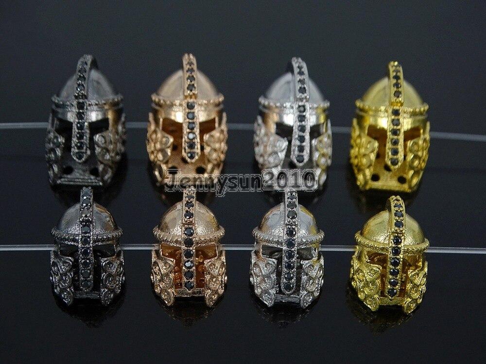 10x15mm Black Zircon Gems Stones Pave Roman Warrior Helmets Masks Bracelet Connector Charm Beads 10Pcs/Pack