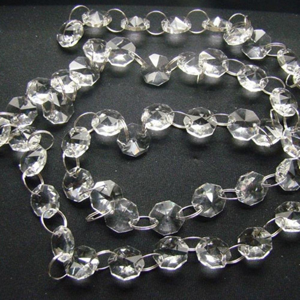 Handmade 6.6ft Clear Crystal Acrylic Chandelier Part Prism Octagonal Beads Chain Home Decor 200cm Suncatcher XMS