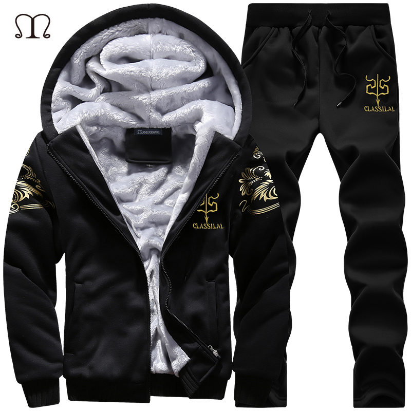 Winter Dikke binnenste wollen hoodie Herenhoed Casual Warm pak Heren Rits Actieve pakken voor mannen Uitloper + broek Moletons Masculino 2019