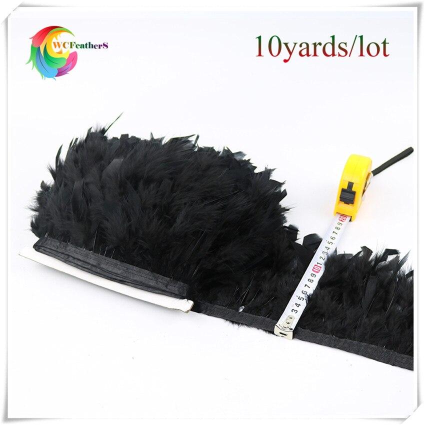 Hot koop 10 yards pluizige chandelle marabou veer lint franje 6-8 inches zwart kalkoenveren trimmen voor carnaval kostuums