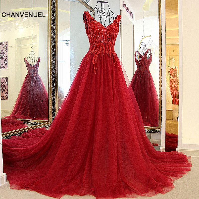 LS58333   evening     dresses   long 2016 high quality party gown lace up back A line sexy V neck wine red tulle rhinestone   evening   gown