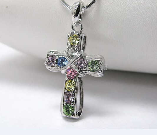 Fashion Metal Cross Snake Chain Crystal Rhinestone Pendant Necklace 3CM one piece  xy121