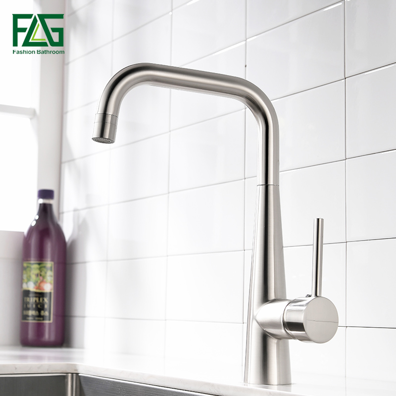 Kitchen Sink Outlet: FLG Kitchen Faucet Brushed Nickel Faucets 360 Rotate