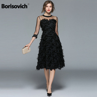 Borisovich Luxury Women Evening Party Dresses New Arrival 2017 Spring Fashion Tassel O neck Elegant Black Female Dress M070