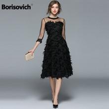 Borisovich abiti da sera da sera da donna di lusso nuovo arrivo 2017 moda primavera nappa o collo elegante abito femminile nero M070