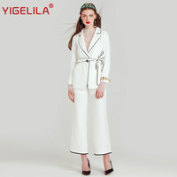 YIGELILA Brand 8180 Latest New Women Fashion Black White Patchwork Office Lady Sets