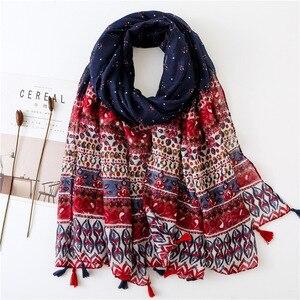 Image 1 - Женский шарф, шаль из Испании, этническая искусственная шаль, шарф из индийского этнического принта, шарф из пашмины, мусульманская искусственная шаль