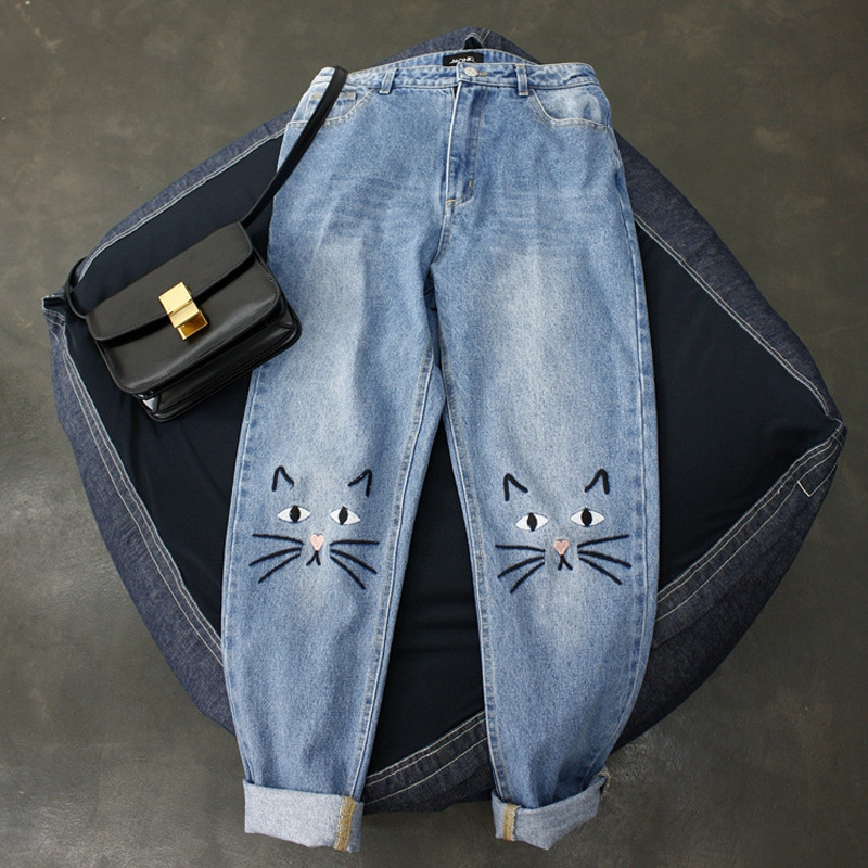 2018 New Women Denim Jeans High Waist Vintage Cat Face Embroidery Jeans Preppy Style Harem Cotton Jeans Female #A029