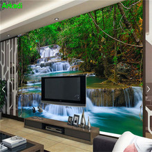 3d waterfall forest wallpaper photos bedroom home decor modern landscape nature background wall
