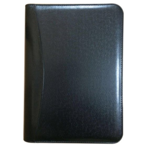 B5 Zipped Document Case Conference Folder Business Organiser Luxury, Black/Brown