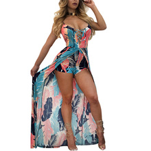 New Elegant Bohemian Culotte Jumpsuit Romper Women Backless Strap Combishort Femme Feather Print Playsuits Summer Beach Overalls недорого