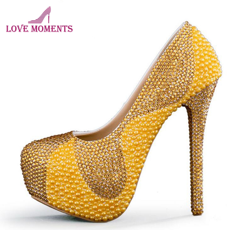 03002a3d2721 New Yellow Wedding Shoes with Pearl and Gold Rhinestone Handmade Sparkling Women  Pumps Bridal Dress Shoes Party Prom Heels - aliexpress.com - imall.com